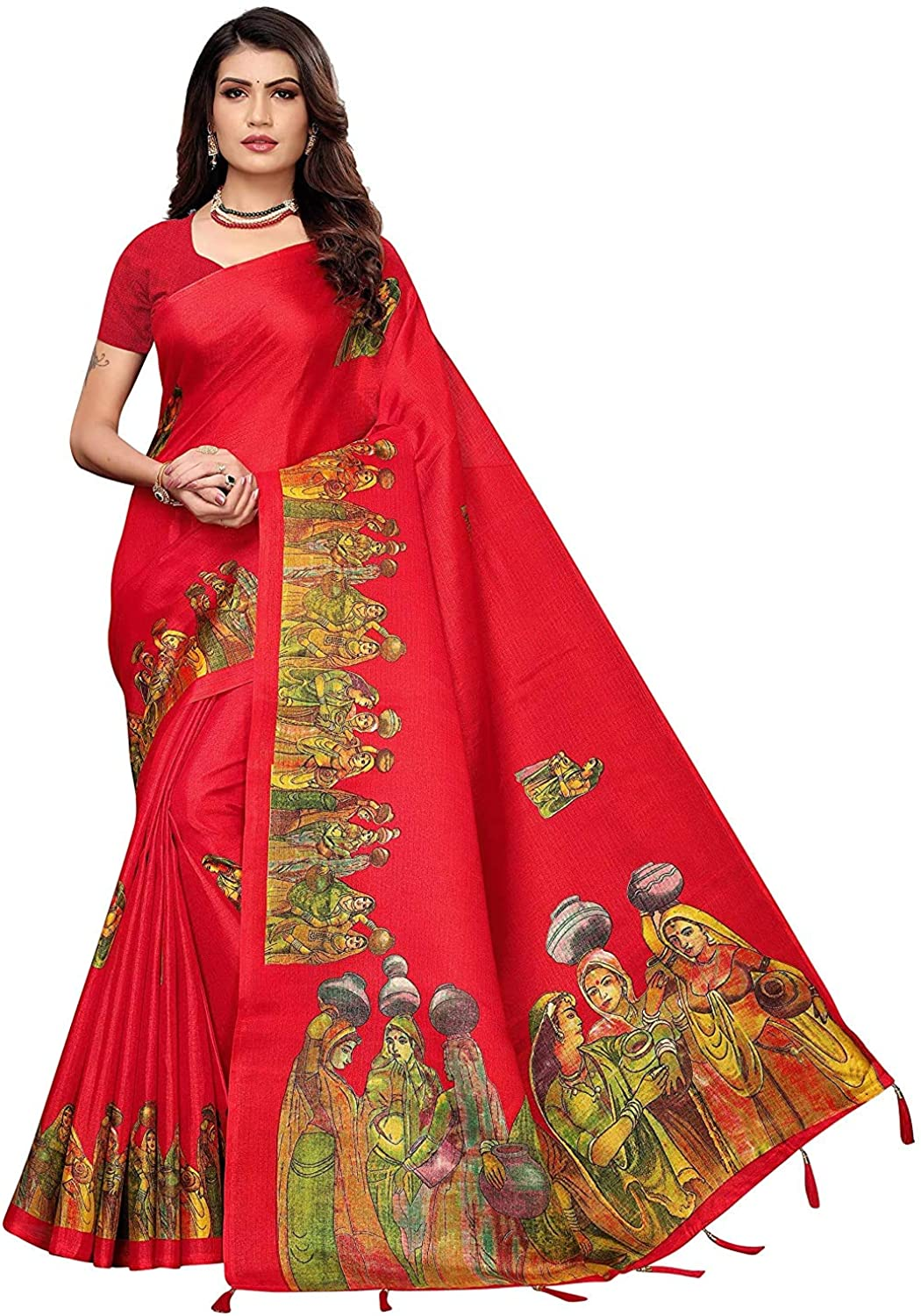 Women's Khadi Silk Printed Traditional Saree with Unstitched Blouse Red