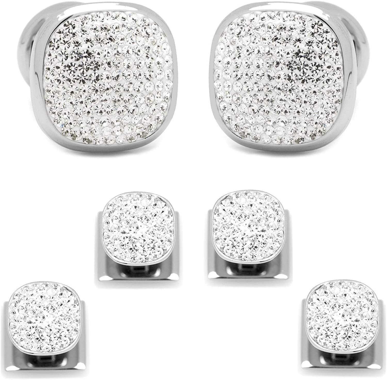 David's Formal Wear Stainless Steel White Pave Crystal Stud and Cufflink Set