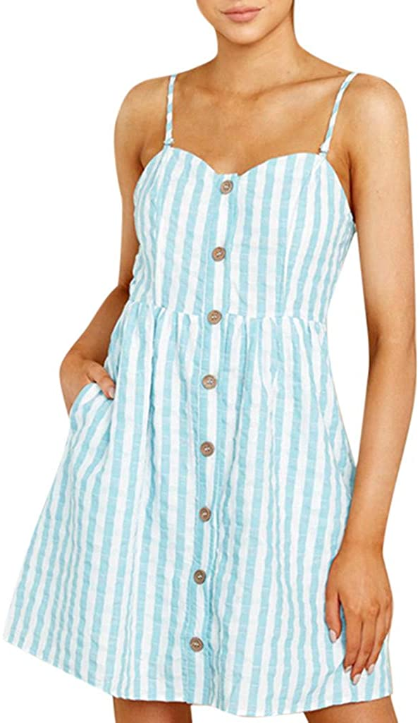 TIANMI Women Summer Sexy Strappy Off Shoulder Striped Bow Open Back Short Mini Dress