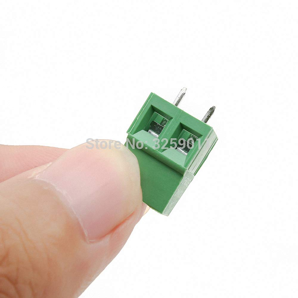 1PCS PCB Screw Universal Terminal Block Connector Pitch 5.0MM 2PIN 300V 10A 5.0mm KF 128-5.0-2P Green Iron 22-12 AWG