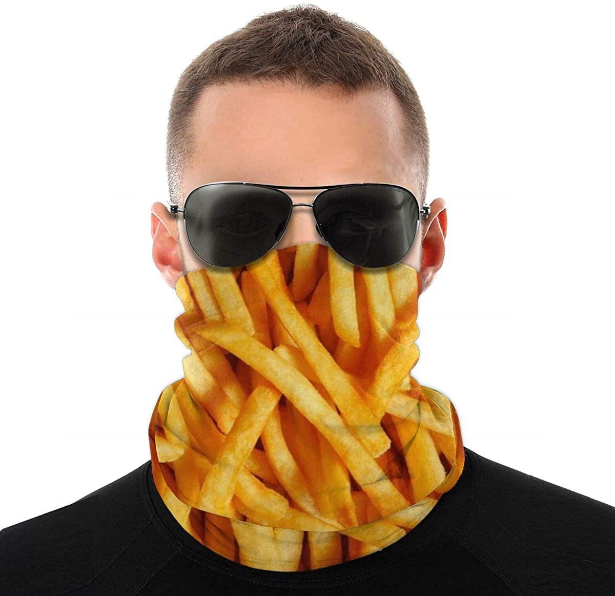 French Fried Novelty Neck Gaiter Unisex Adult Windproof Mask Dust Sports Face Mask Half Balaclava Weather Bandana Women Men Outdoors Festivals