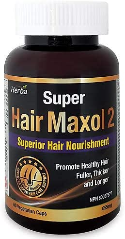 Super Hair Maxol 2 - Herba - Superior Hair Nourishment - Promote Healthy Hair, Fuller, Thicker Longer Hair - 60 Vegetable Capsules - Obtained NPN # 80087377 from Health Canada -100% Natural