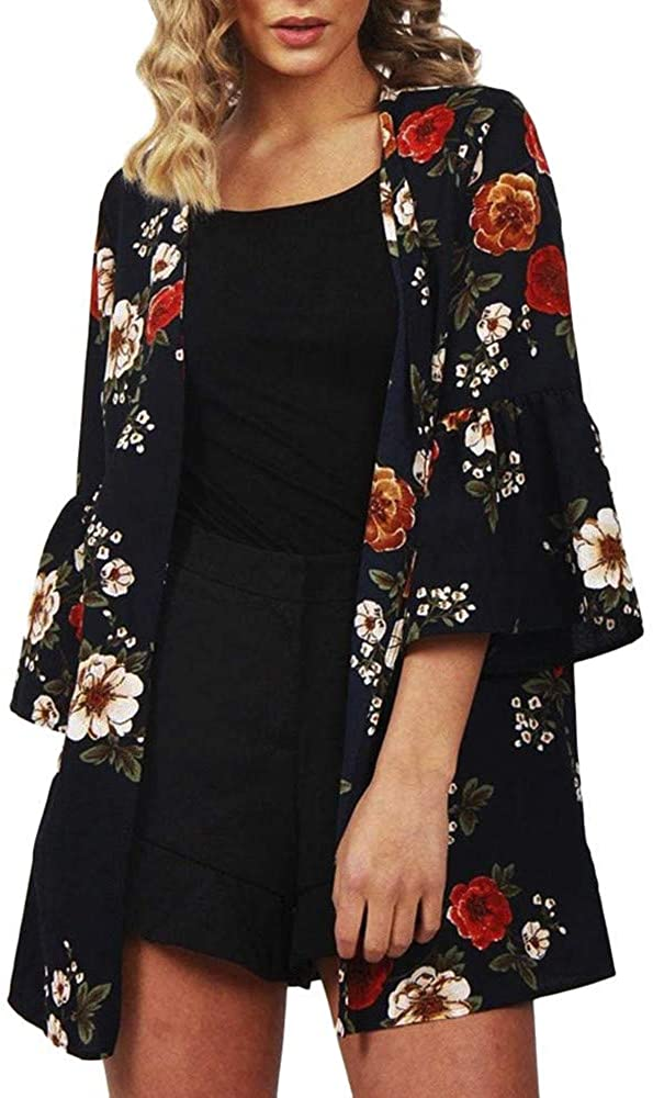 Mikey Store Kimono Cardigans Floral Loose Half Sleeve Shawl Chiffon Casual Cardigan