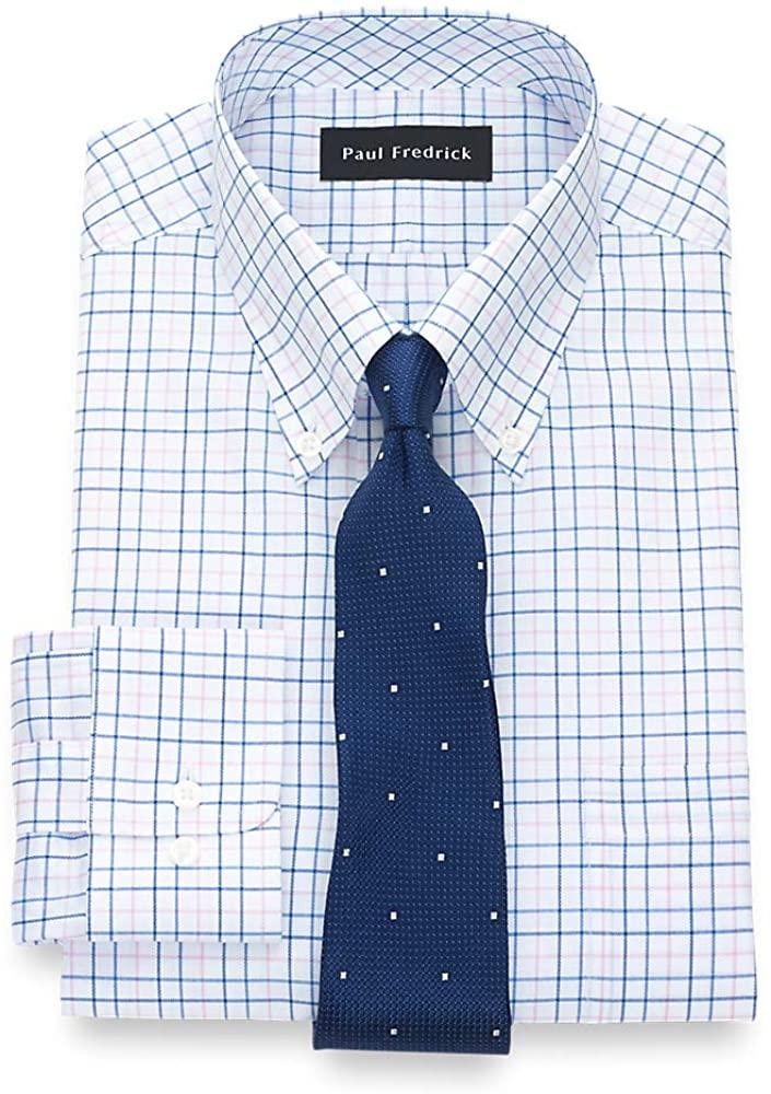 Paul Fredrick Men's Classic Fit Pure Cotton Tattersall Dress Shirt
