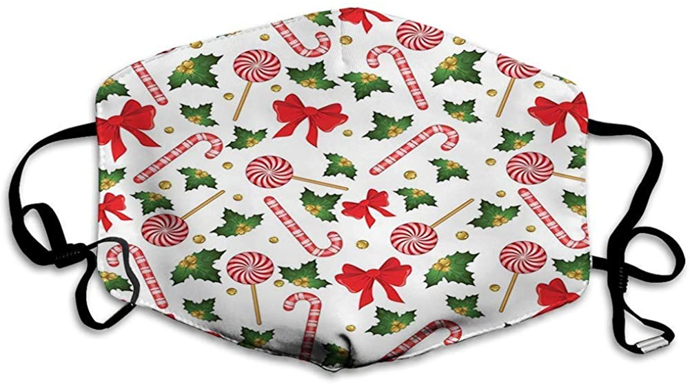 BOKUTT Decorative mouth cover,Candy Cane, Holly Berry Mistletoe Traditional Red and White Patterned Sugary Food on Sticks0483