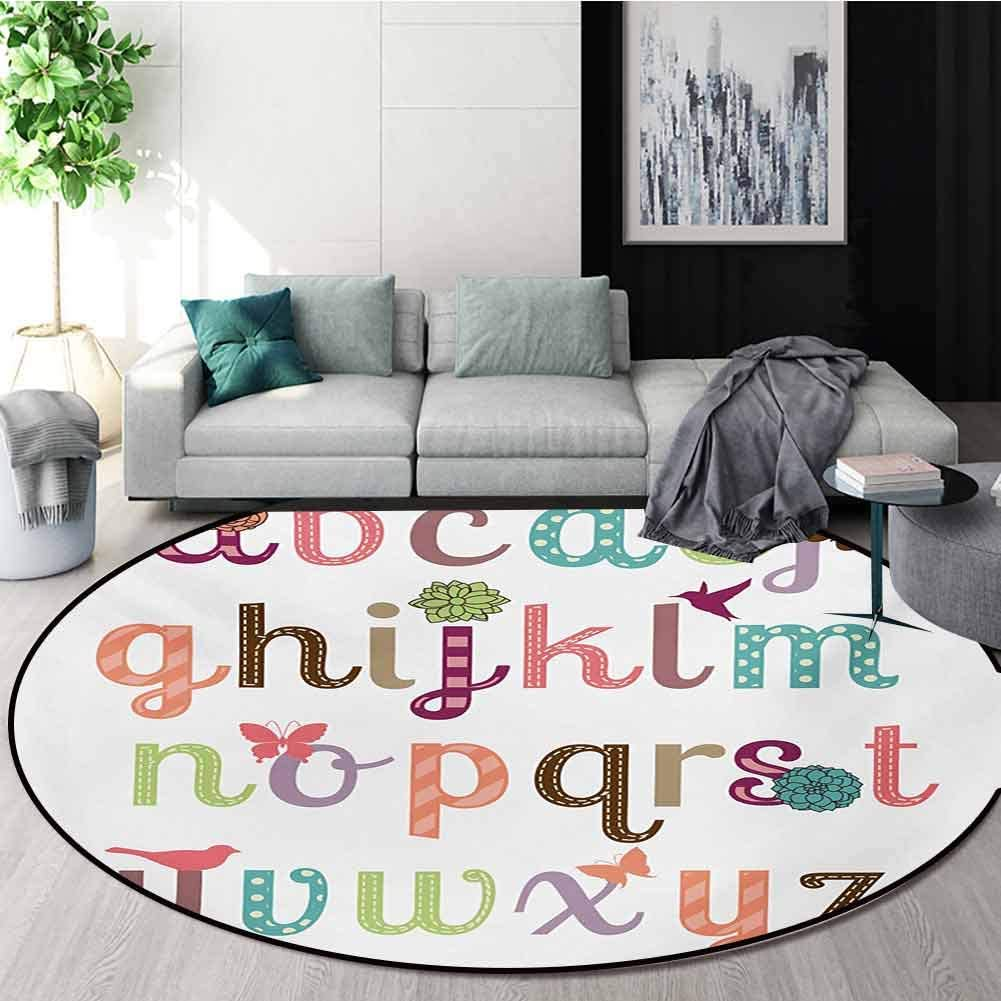 RUGSMAT Letters Rug Round Home Decor Area Rugs,Girly Feminine Typography Set Colorful Letters with Flowers Birds and Butterflies Non-Skid Bath Mat Living Room/Bedroom Carpet,Diameter-35 Inch