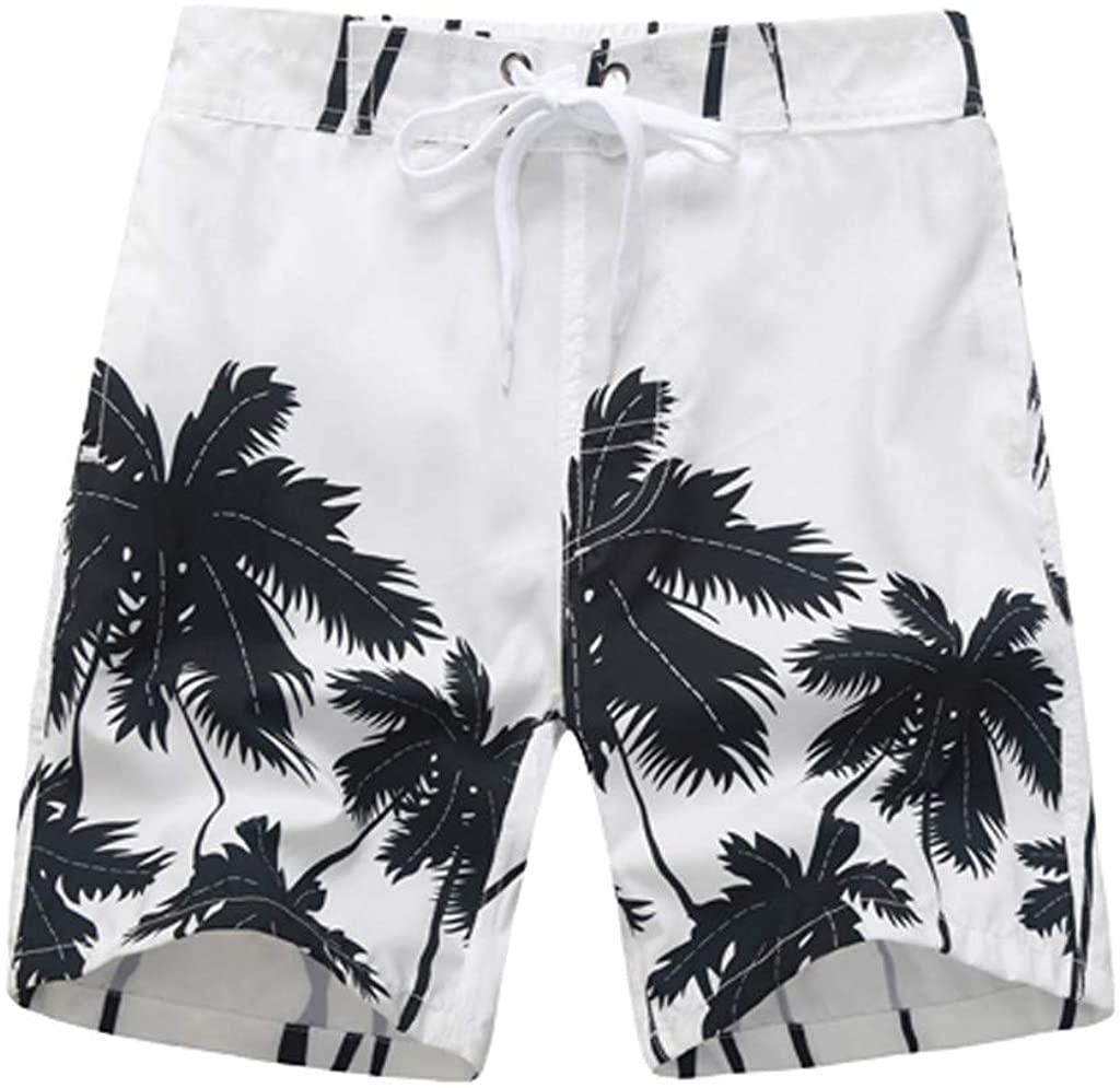 WOCACHI 2020 Boys 3D Swim Trunks, Parent-Child Coconut Tree Swimwear Beach Shorts Quick Dry Swimming Boardshorts