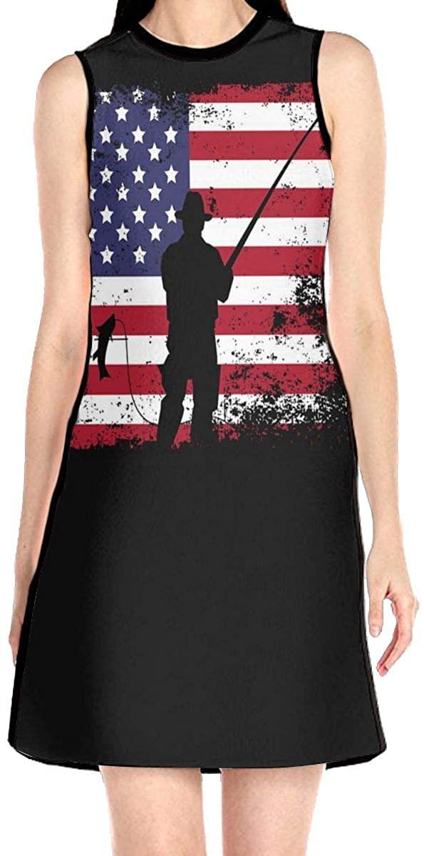 American Flag Fishing Women's Sleeveless Dress Casual Slim A-Line Dress Tank Dresses