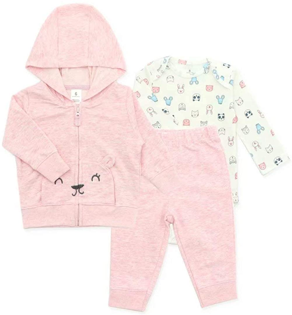 Little Bitty Baby Girls Clothes Outfit Hoodie Jacket Long Sleeve Romper Pants Set 3Pcs