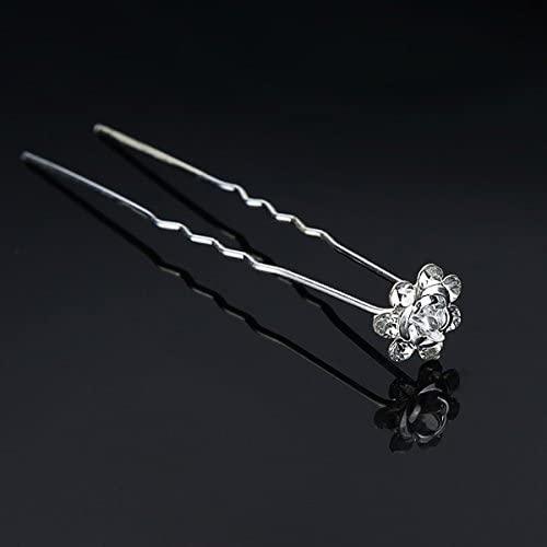 White Bridal Headpieces Hair Accessories U-clip Rhinestone Flower Hairpin by 24/7 store