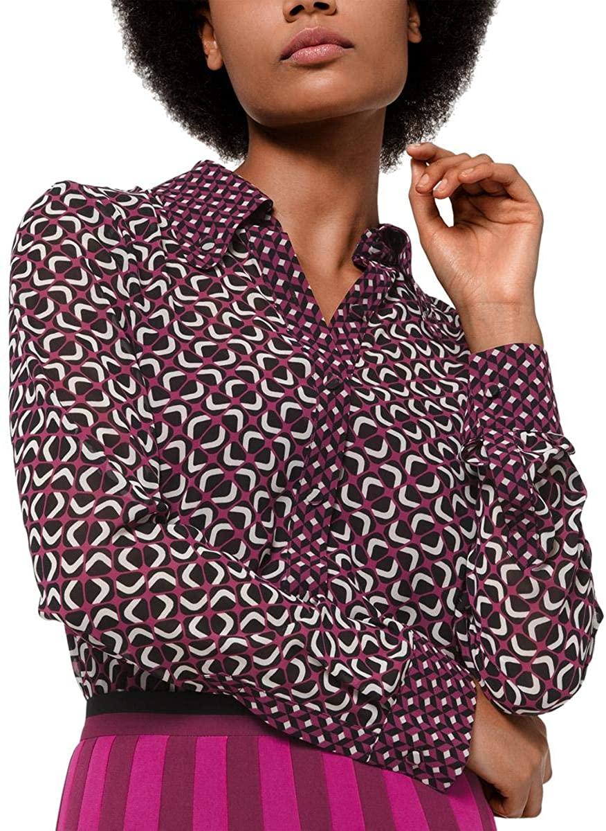 Michael Michael Kors Womens Petites Foulard Print Collared Button-Down Top
