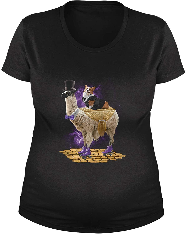 Expression Tees Corgi Riding The Llama Express Maternity Pregnancy Scoop Neck T-Shirt