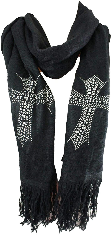 TFJ Women Fashion Long Black Necklace Scarf Soft Fabric Silver Bling Cross Religious Charm