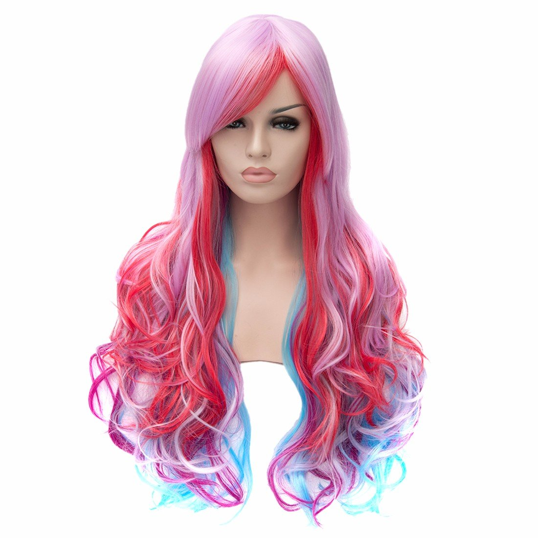 70Cm Purple Red Blue Mixed Colorful Hair Full Wig Women Long Wavy Cosplay Fancy