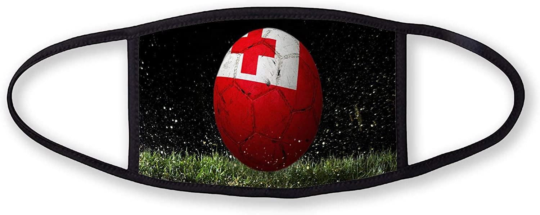 3-Layer reusable/washable Facemask - Flag of Tonga (Tongan) - Bricks Design