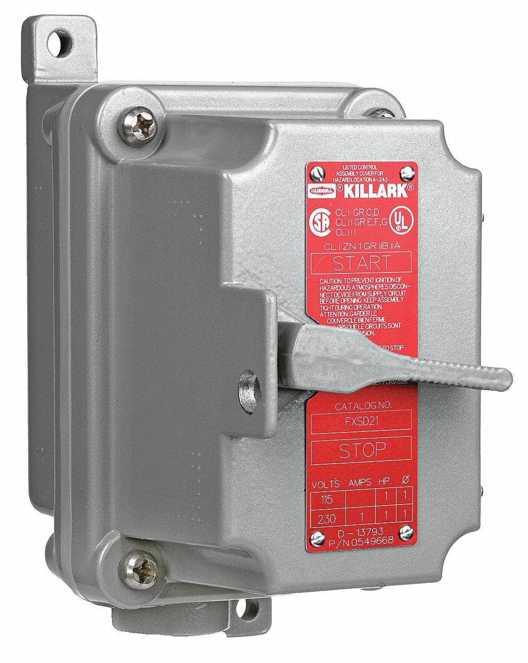Hubbell KILLARK 1-Pole 20 Amp Toggle Tumbler Switch, 1/2