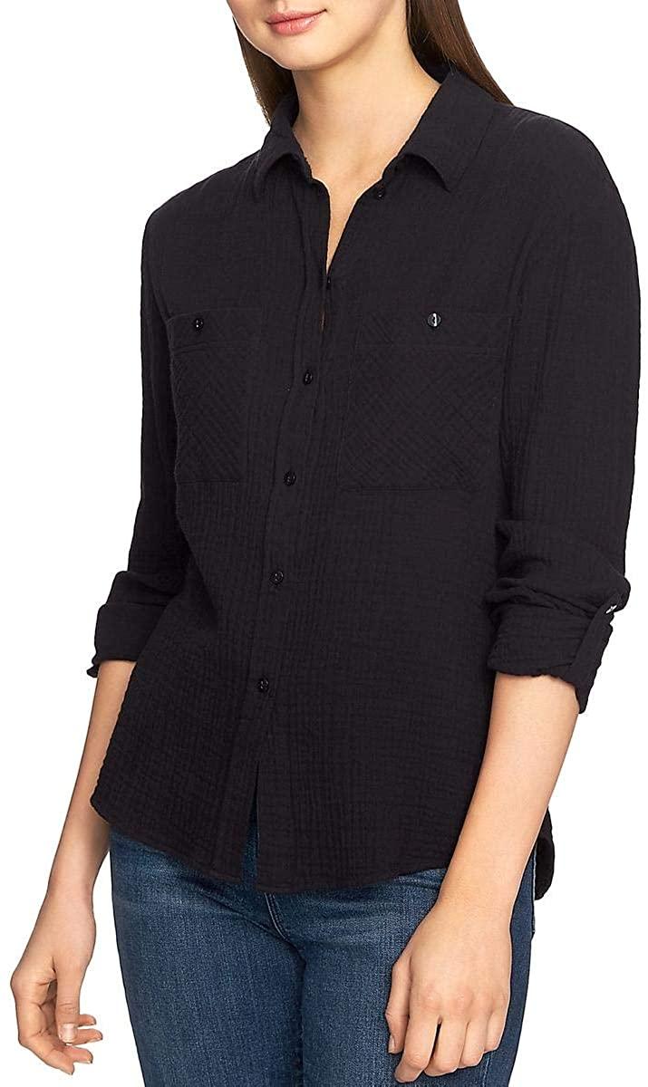 1 STATE Women's Cotton Pocket Gauze Button Down Shirt Top
