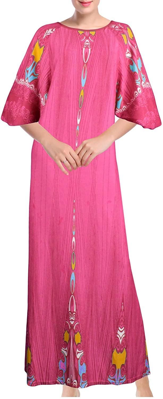 Chemin de Moda Women's Sleepwear Long Nightgown Ankle-Length Short Sleeve Crew Neck Printed M-XXL