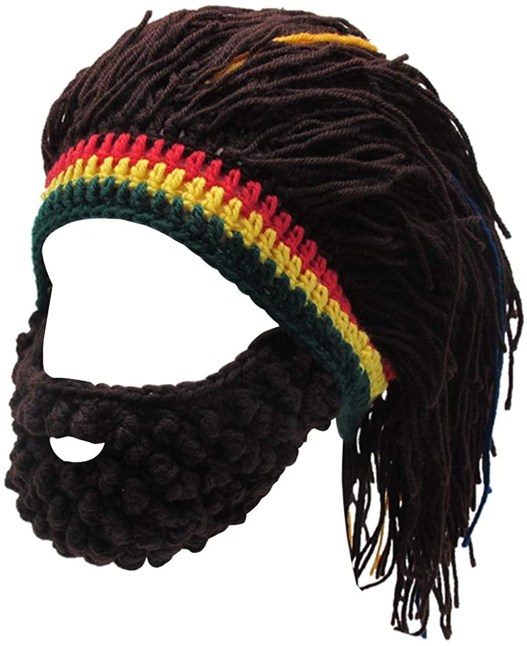 FALETO Funny Knit Beanie Beard Hat Rasta Hat with Dreadlocks Handmade Wig Fancy Halloween Caps