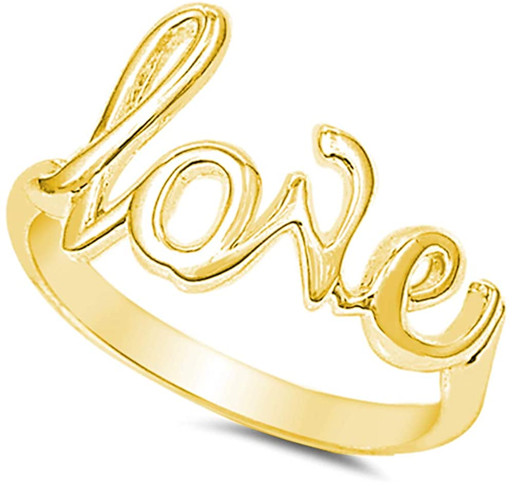 CloseoutWarehouse Sterling Silver Love in Script Ring Silver (Color Options, Sizes 2-15)