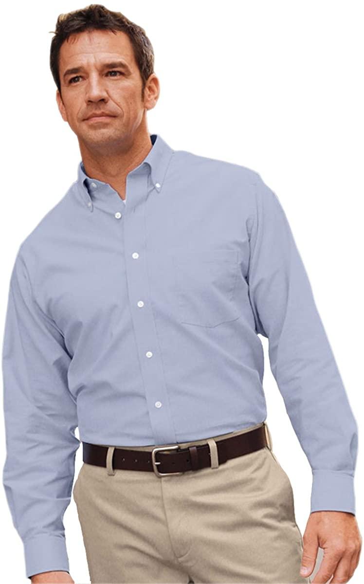 Van Heusen mens Classic Long-Sleeve Oxford(VH56800)-LIGHT BLUE-XL