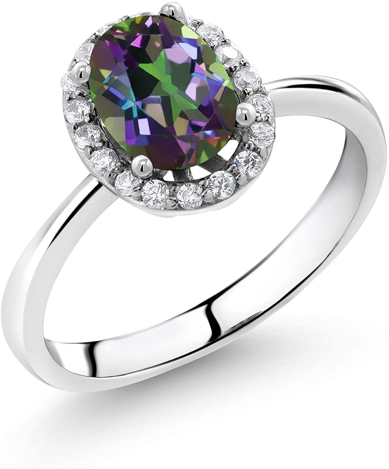 Gem Stone King 925 Sterling Silver Green Mystic Topaz Women Engagement Ring (1.20 Ct Oval Available in size 5, 6, 7, 8, 9)