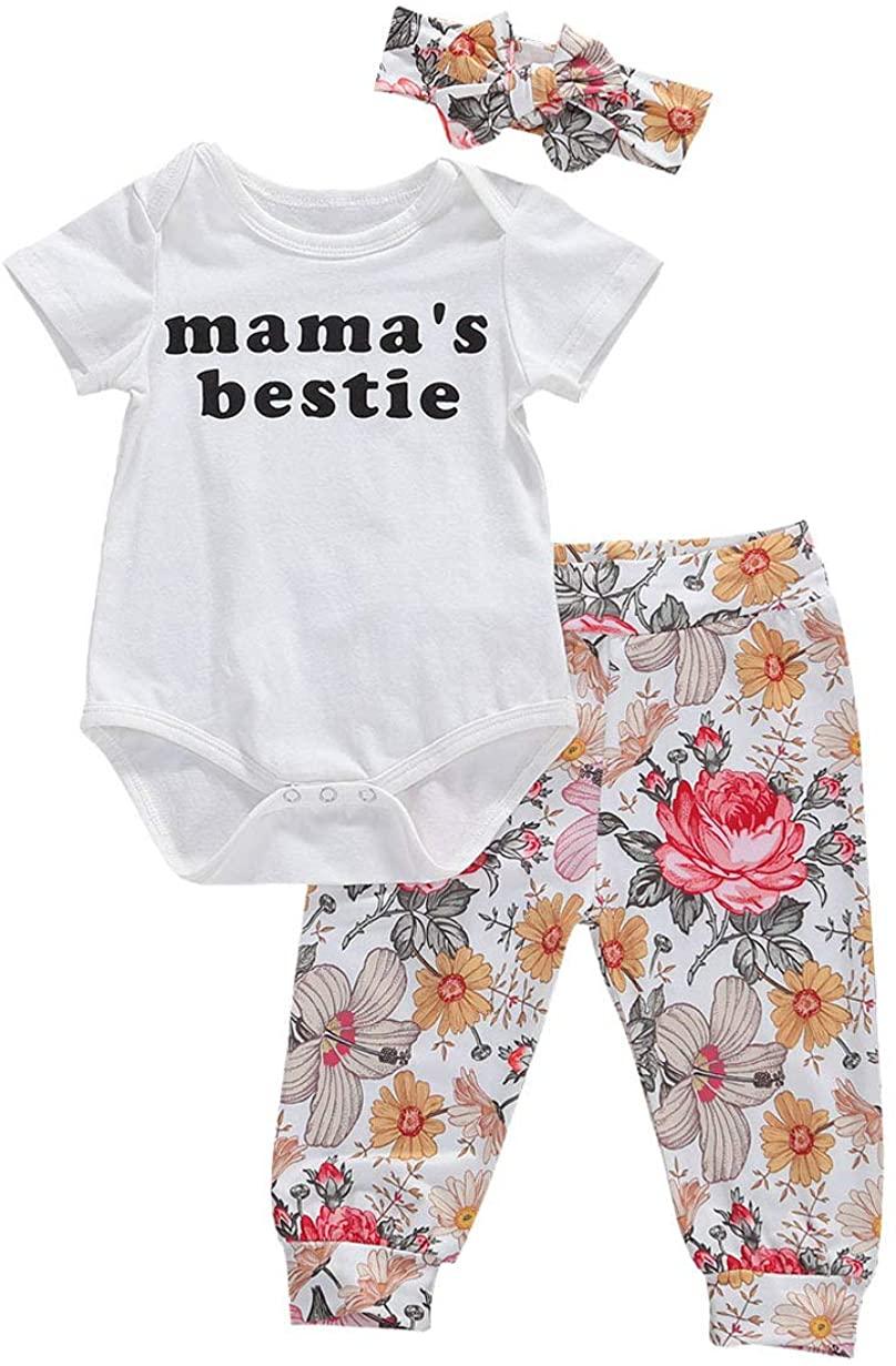Newborn Infant Baby Girl Short Sleeve Letter Romper + Flower Print Pants + Headband Set