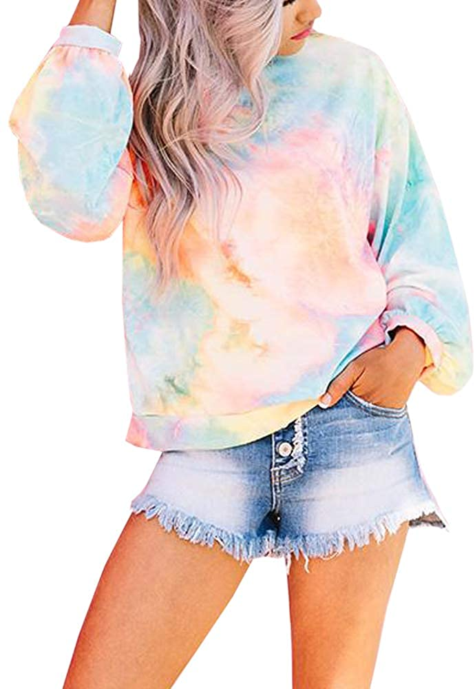 Womens Tie Dye Long Sleeve Sweatshirts Plus Size Crewneck Loose Casual Pullover Shirts Tops