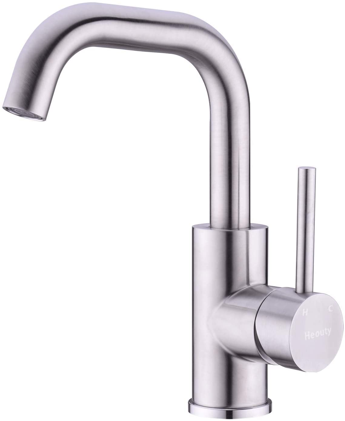 Heouty Stainless Steel Bathroom Faucet, Brushed Nickel Modern Single handle Swivel Spout Kitchen Bar Faucet,Single hole 360 Rotate Spout Small Kitchen Faucet