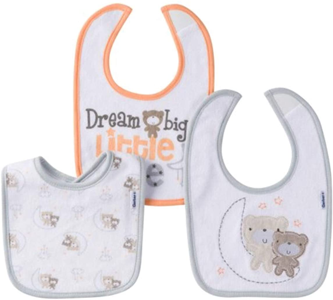 Gerber Newborn Baby Boy Assorted Terry Bibs, 3-Pack
