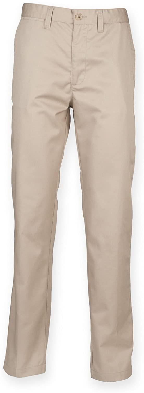 Henbury Mens 65/35 Flat Fronted Chino Work Pants (34R) (Stone)