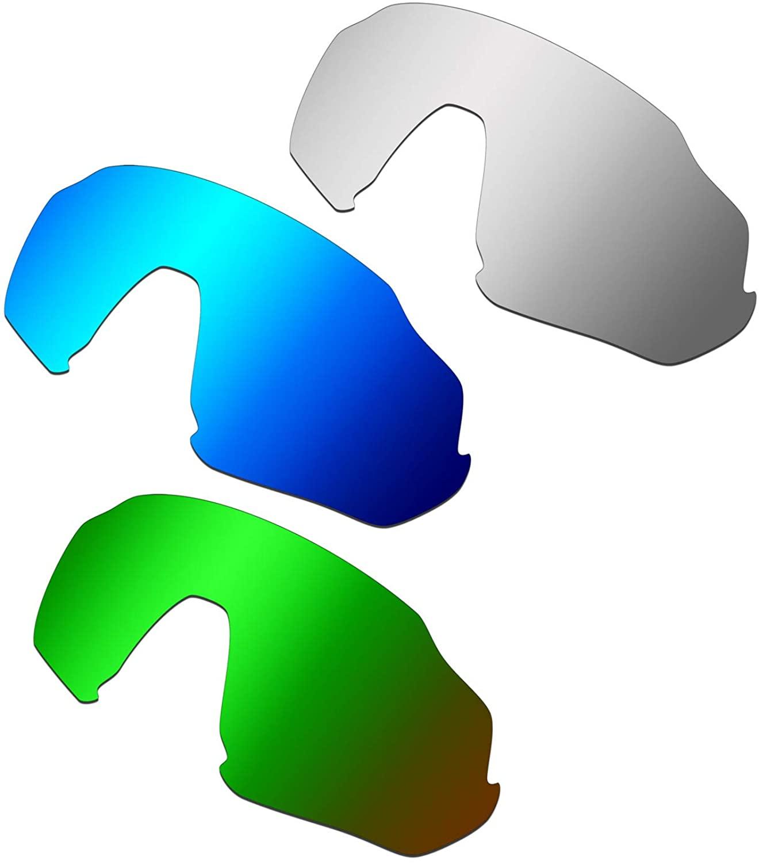 HKUCO Reinforce Replacement Lenses for Oakley Flight Jacket Blue/Titanium/Emerald Green Sunglasses