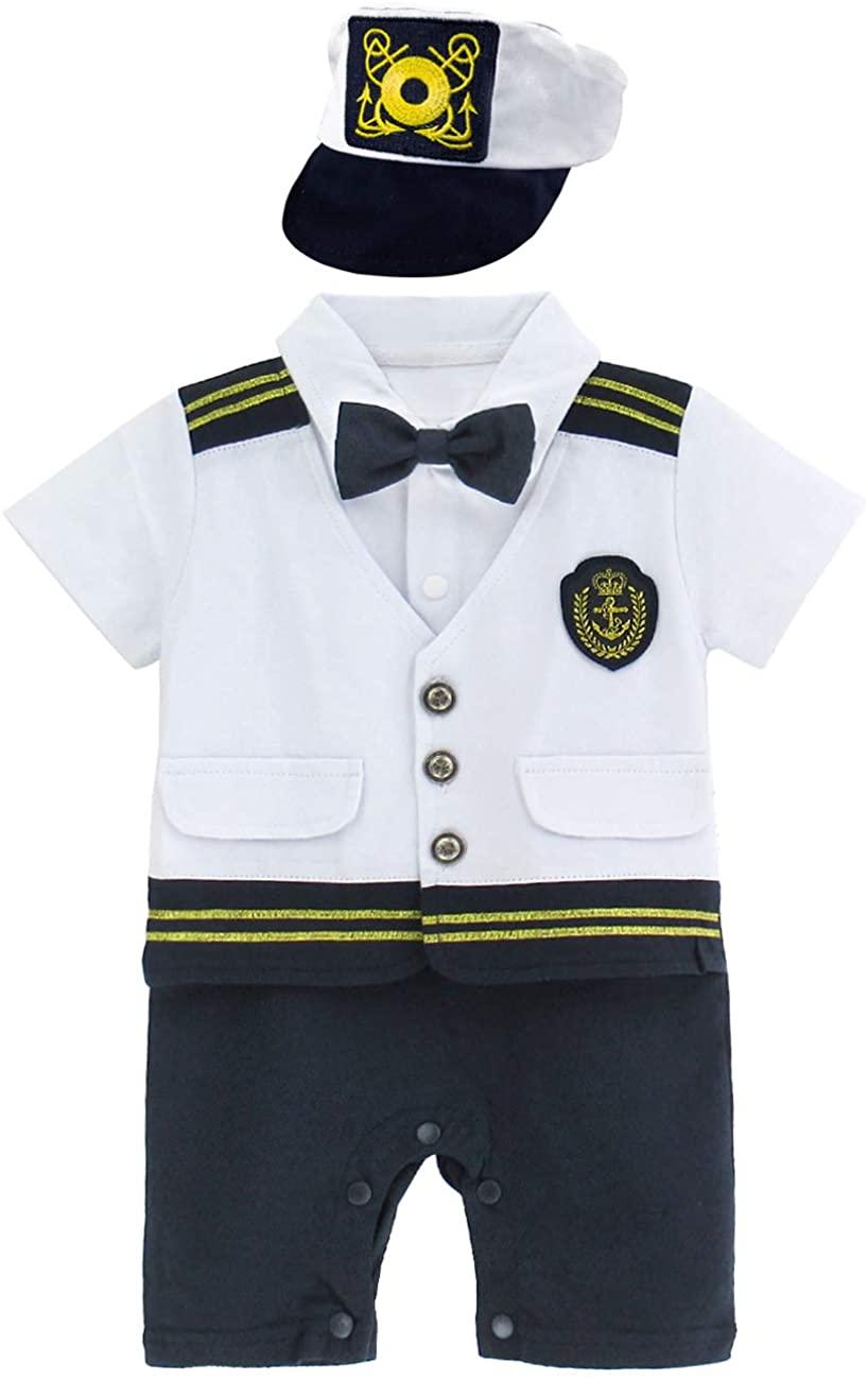 A&J DESIGN Baby Boys Navy Captain Costume Sailor Romper