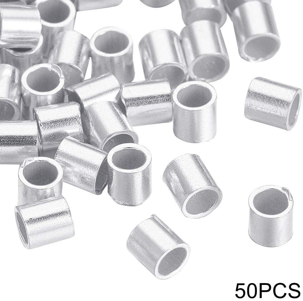DanLingJewelry 50 pcs 925 Sterling Silver Beads Crimp Beads for Jewelry Making Findings 2mm