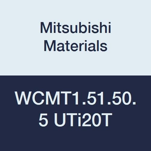 Mitsubishi Materials WCMT1.51.50.5 UTi20T Coated Carbide WC Type Turning Insert with Hole, Trigon, Grade UTi20T, 0.187