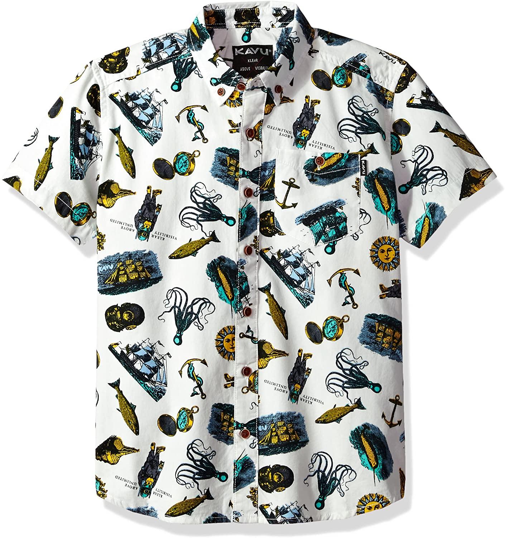 KAVU Little Juan Button Down Shirt, Cove Diver, Youth Large