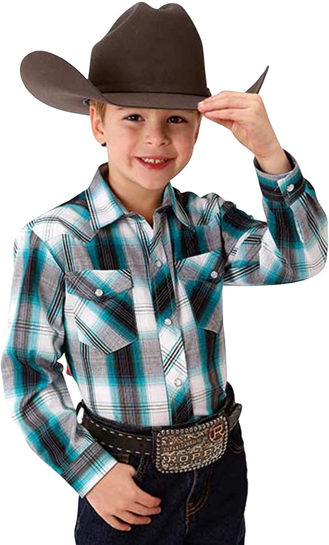 Roper Boys' Multi Plaid Long Sleeve Woven Western Shirt Blue X-Large