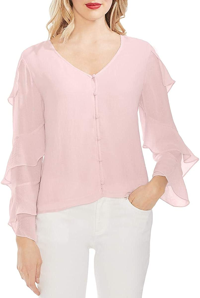 Vince Camuto Womens Tiered Ruffled Button-Down Top