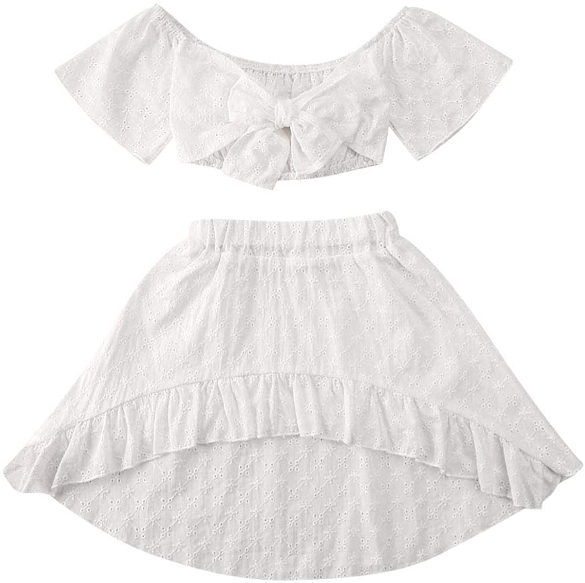 Baby Girls White 2PCS Outfits Bowknot Off Shoulder Tops Mini Skirt Dresses Summer Clothes Set