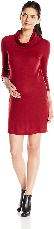 Everly Grey Women's Maternity Marina Long-Sleeve Cowl Neck Sweater Dress