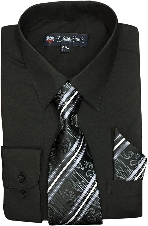 Fortino Landi Men's Long Sleeve Dress Shirt With Matching Tie And Handkerchief