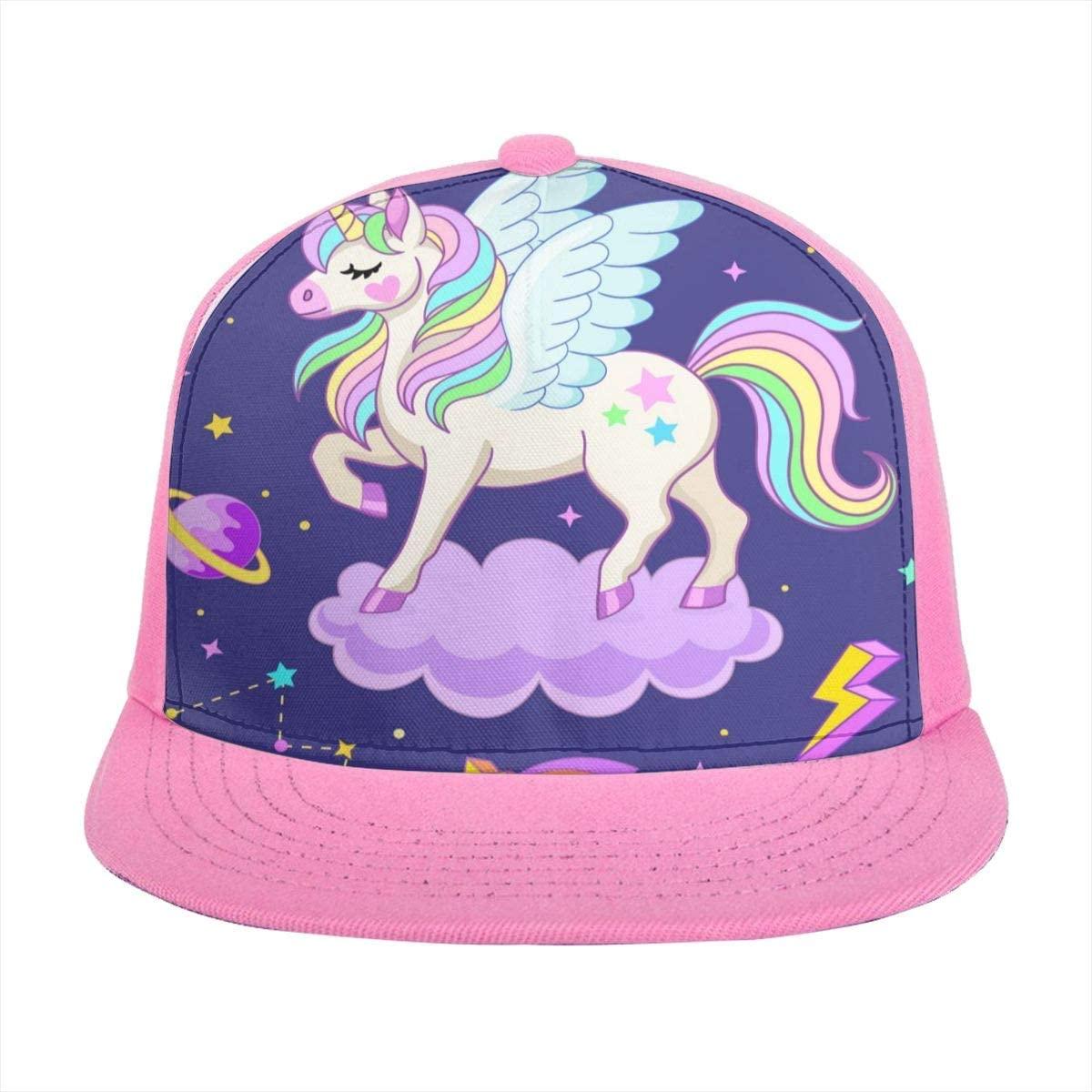SLHFPX Baseball Cap Cute Unicon Pegasus On Cloud with Rocket Sun Trucker Hats for Women Men Girls Boys Summer