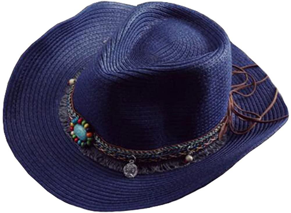 Sun Hat Costume Cowboy Hats Beach Headwear Straw Hat-A3 Navy Blue
