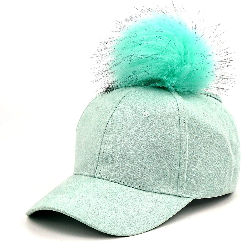 B.J Womens Baseball Hat, Visor Adjustable Ponytail Cap Faux Fur Pom Pom Baseball Hat for Women