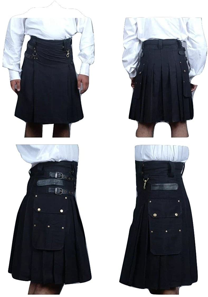 BLACK UTILITY MODERN KILT FRONT SIDE LEATHER STRAP FOR BETTER ADJUSTMENT
