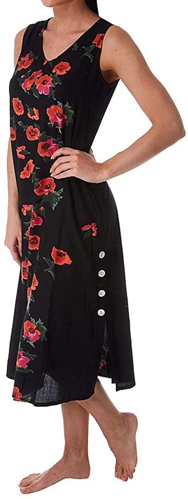 LA CERA Womens Red Poppies Floral Dress, Midi Length V-Neck Sleeveless, Black