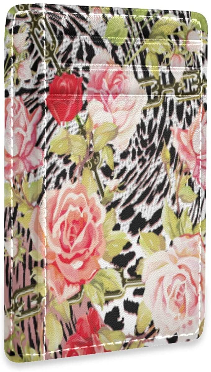 Leaves Vintage Texture Rfid Credit Card Holders Case Organizer Slim Minimalist Wallet Women Men
