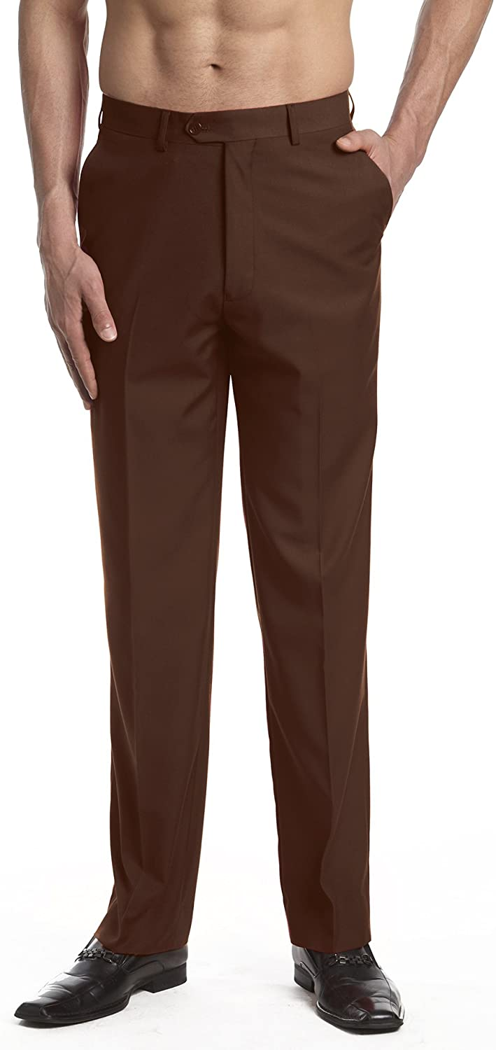 CONCITOR Mens Dress Pants Trousers Flat Front Slacks CHOCOLATE BROWN Color