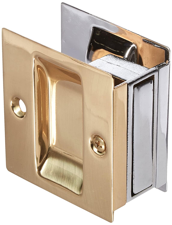 Don-Jo PDL-100 Passage Pocket Door Lock, Polished Chrome Plated/Polished Brass Finish, 2-1/2