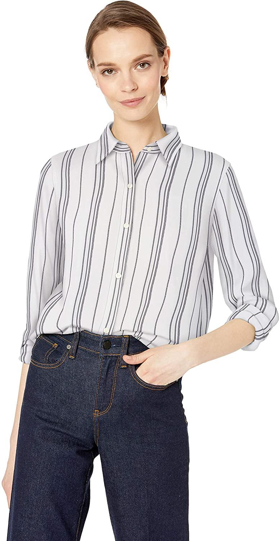Chaps Women's Long Sleeve Yarn Dyed Linen Cotton-Shirt